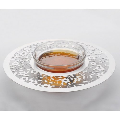 Dorit Judaica Stainless Steel Circular Honey Dish - Flower Design