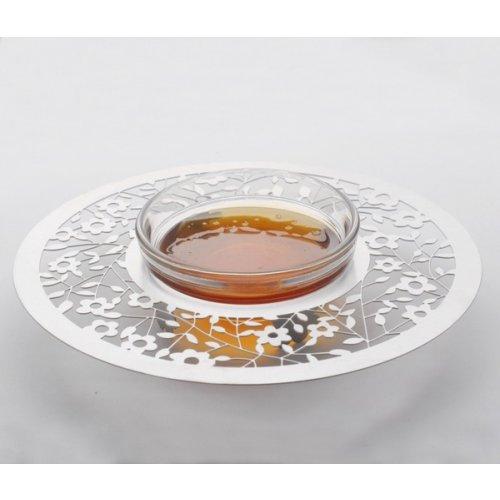 Dorit Judaica Stainless Steel Circular Honey Dish - Flower Design